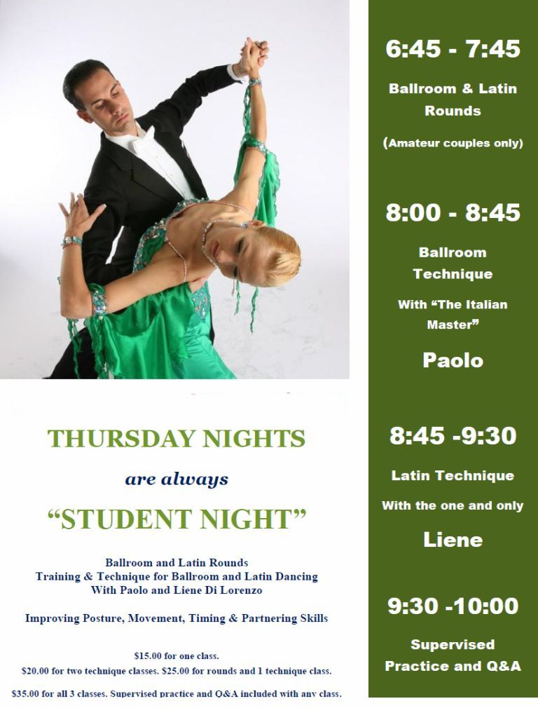 "2020 - Thursday Nights are ""Student Night"""