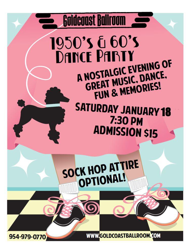 50's & 60's Dance Party - January 18, 2020  at Goldcoast Ballroom!