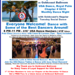 ROYAL PALM DANCESPORT NIGHT!! – Tuesday, January 14, 2020 – 8 PM Dance – 7 PM Complimentary Class with Liene Di Lorenzo – Meet & Dance with some of the Best Dancers Around!! – Everyone Welcome! – Second Tuesday of Every Month –  Mix of Ballroom, Latin & Other Social Dances  – $18.00* | $16.00* for USA Dance Members