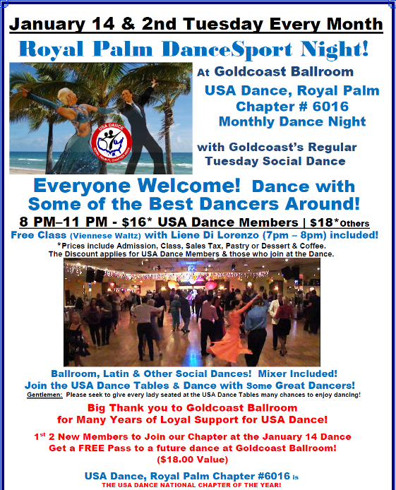January 14, 2020 - Royal Palm DanceSport Night at Goldcoast Ballroom!