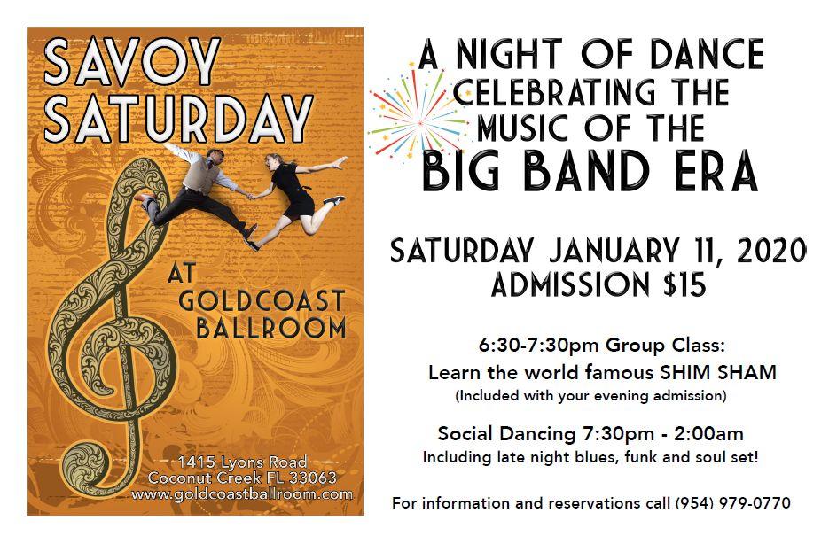 Savoy Saturday - Celebrating the Big Band Era - Saturday, January 11, 2020 - at Goldcoast Ballroom!