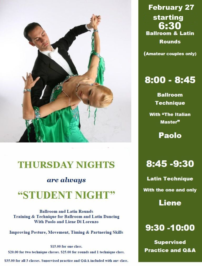 Thursday Nights are Student-Night with Liene & Paolo Di Lorenzo!