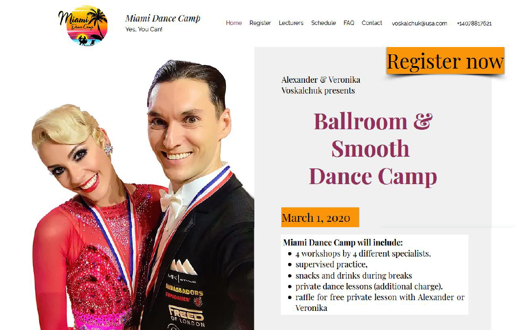 Miami Dance Camp at Goldcoast Ballroom - March 1, 2020 - Register Now!
