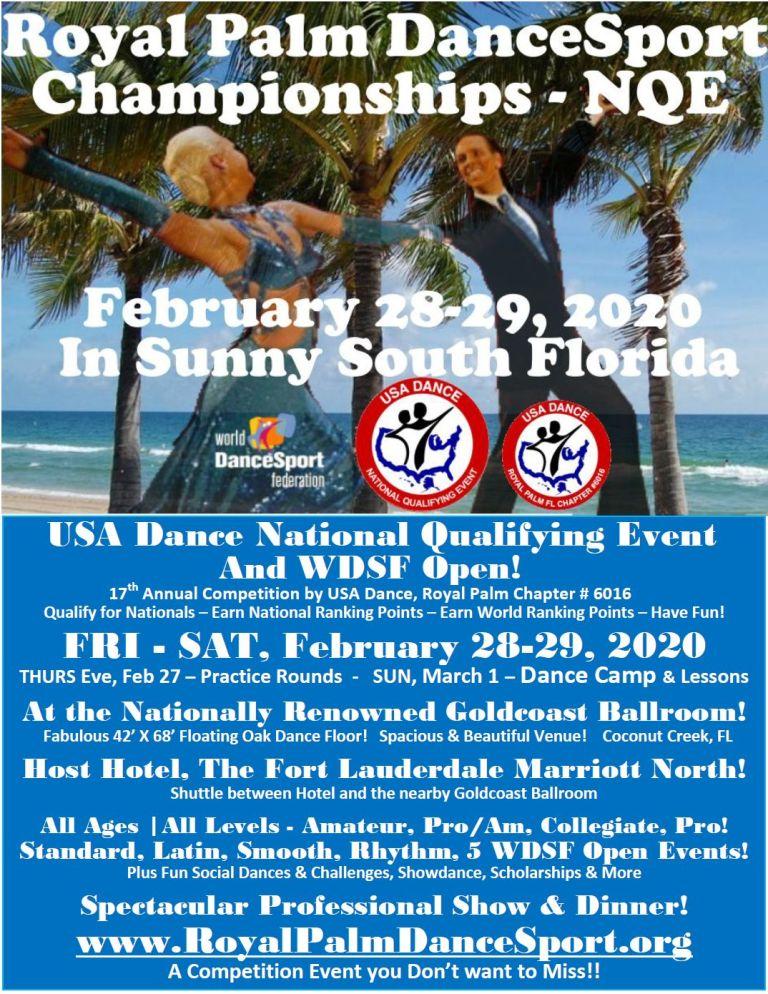 Royal Palm DanceSport Championships NQE & WDSF Open - February 28-29, 2020