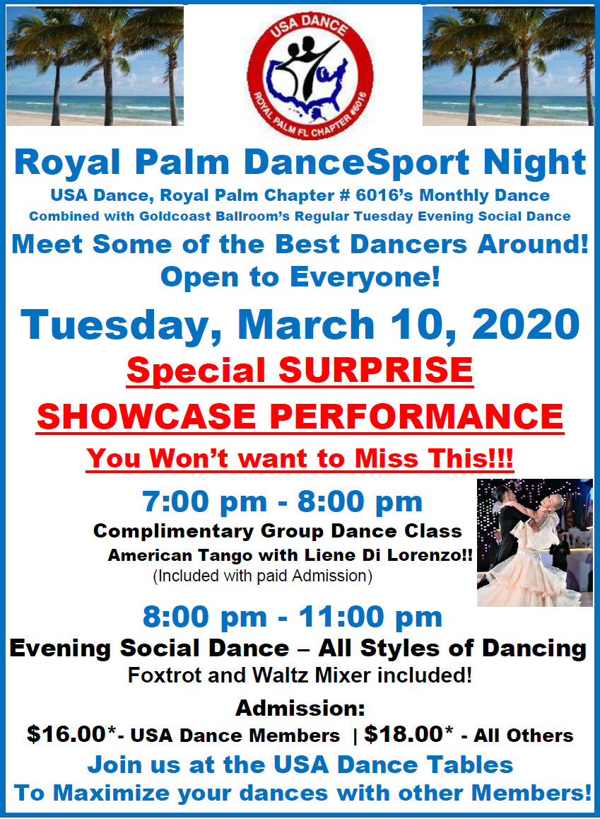 March 10, 2020 - Royal Palm DanceSport Night - with Special Surprise Showcase Performance!!
