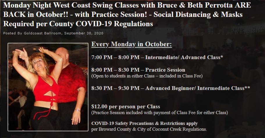 Bruce & Beth Perrotta Resume WCS Classes in October, 2020!