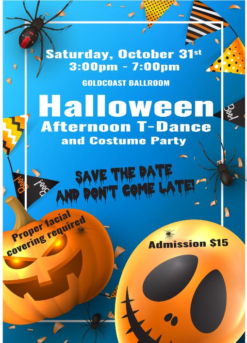 Halloween T-Dance & Costume Contest - Sat, Oct 31, 2020 - 3 PM - 7 PM
