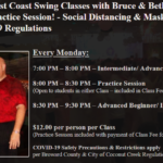Monday Night West Coast Swing Classes with Bruce & Beth Perrotta ARE BACK!! – with Practice Session! – Social Distancing & Masks Required per County COVID-19 Regulations
