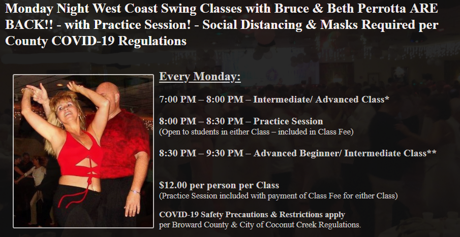 Monday Night West Coast Swing Classes with Bruce & Beth Perrotta ARE BACK!!