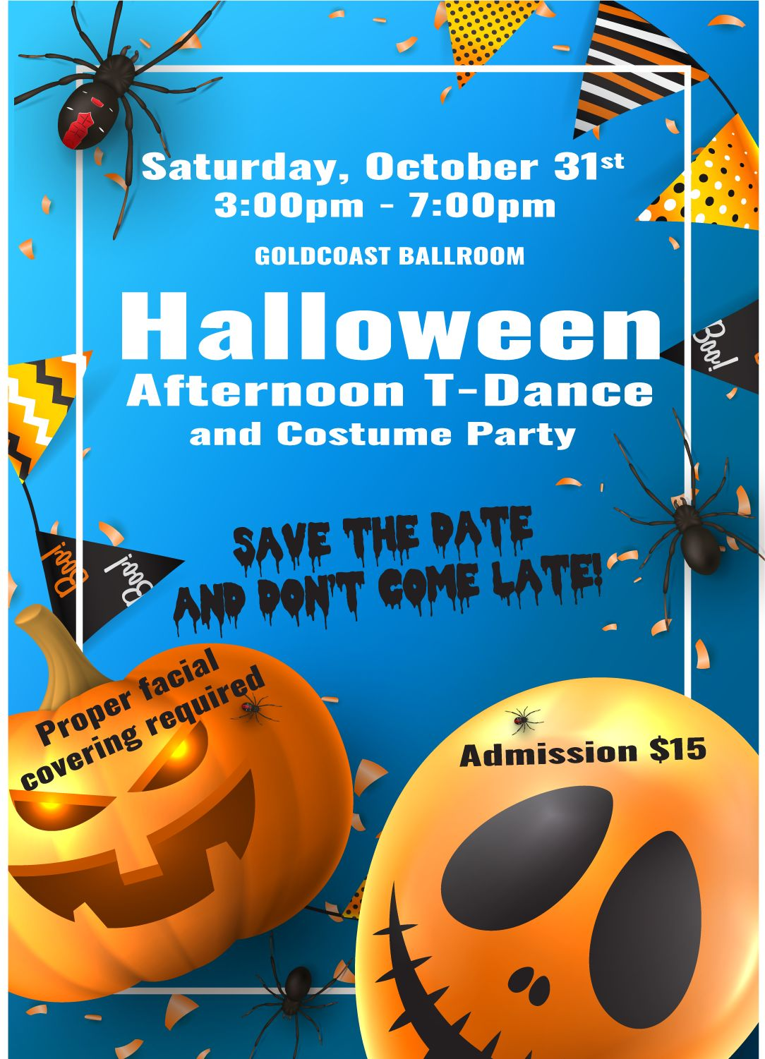 Halloween Afternoon T-Dance & Costume Party - 3-7 PM - October 31, 2020