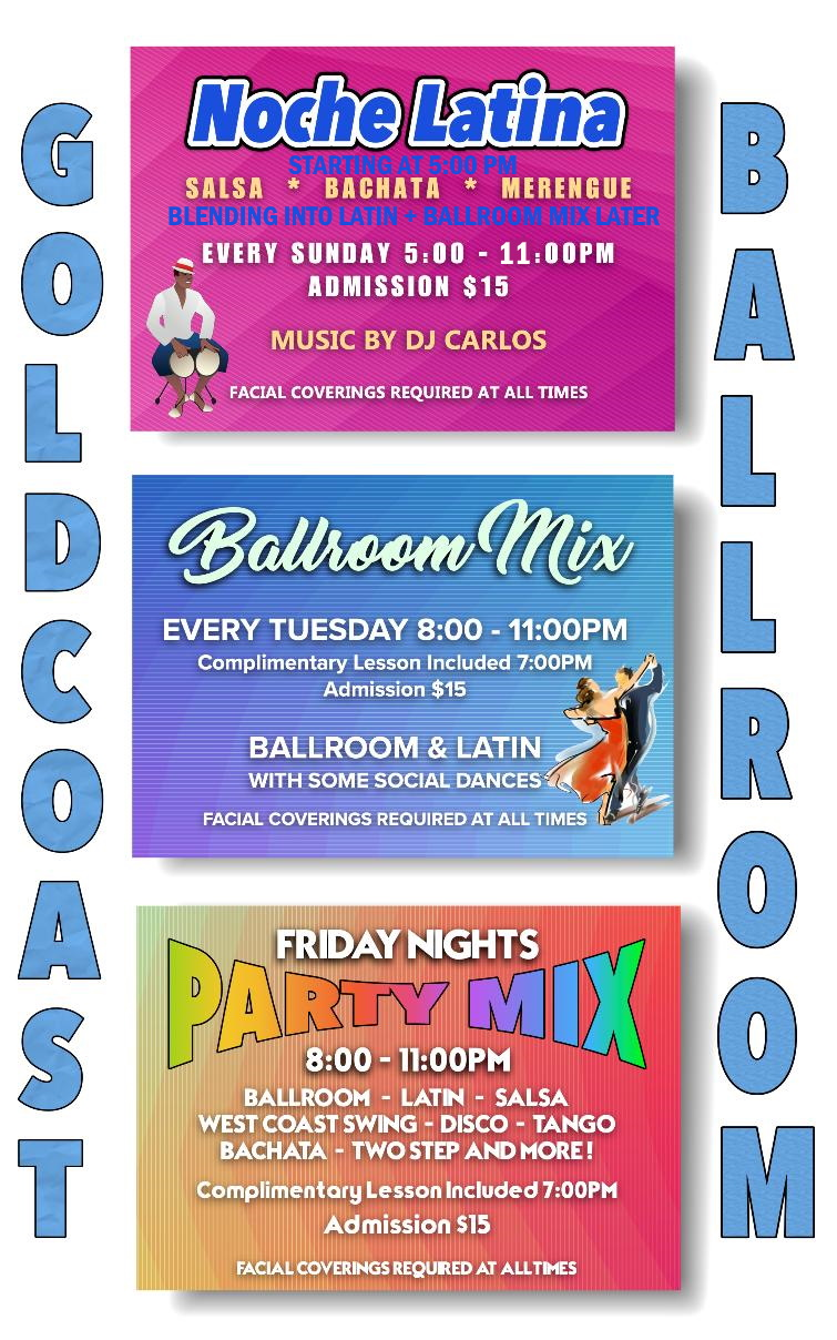 Social Dancing at Goldcoast Ballroom - Sundays, Tuesdays & Fridays!