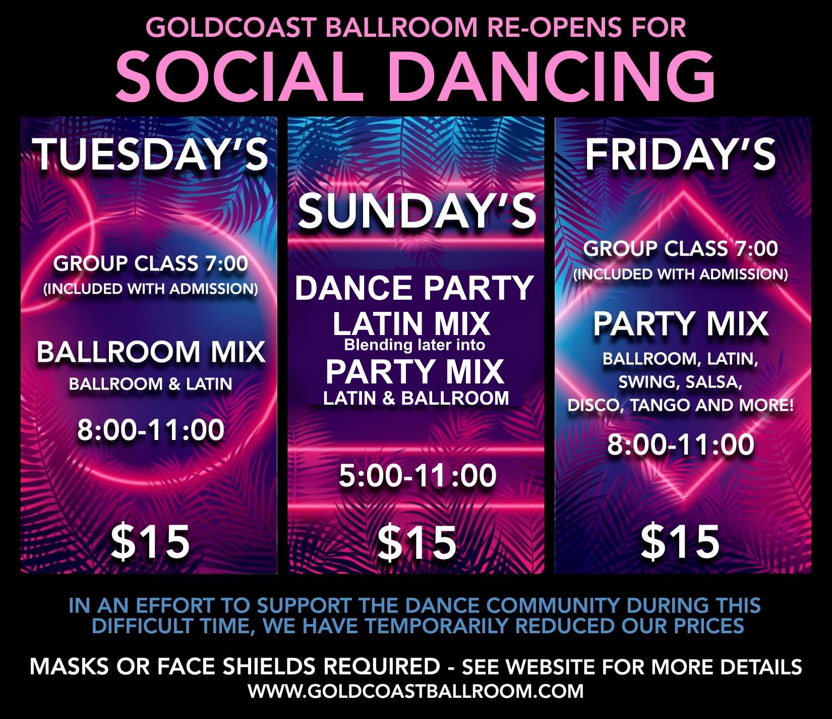 Social Dancing at Goldcoate Ballroom - Sundays, Tuesdays & Fridays!