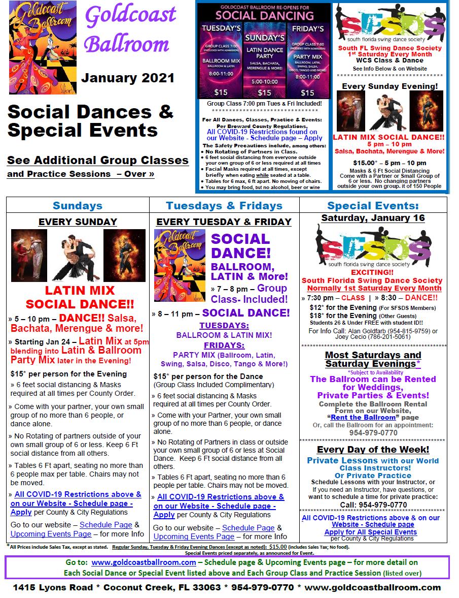 January 2021 Goldcoast Calendar - Social Dances & Special Events