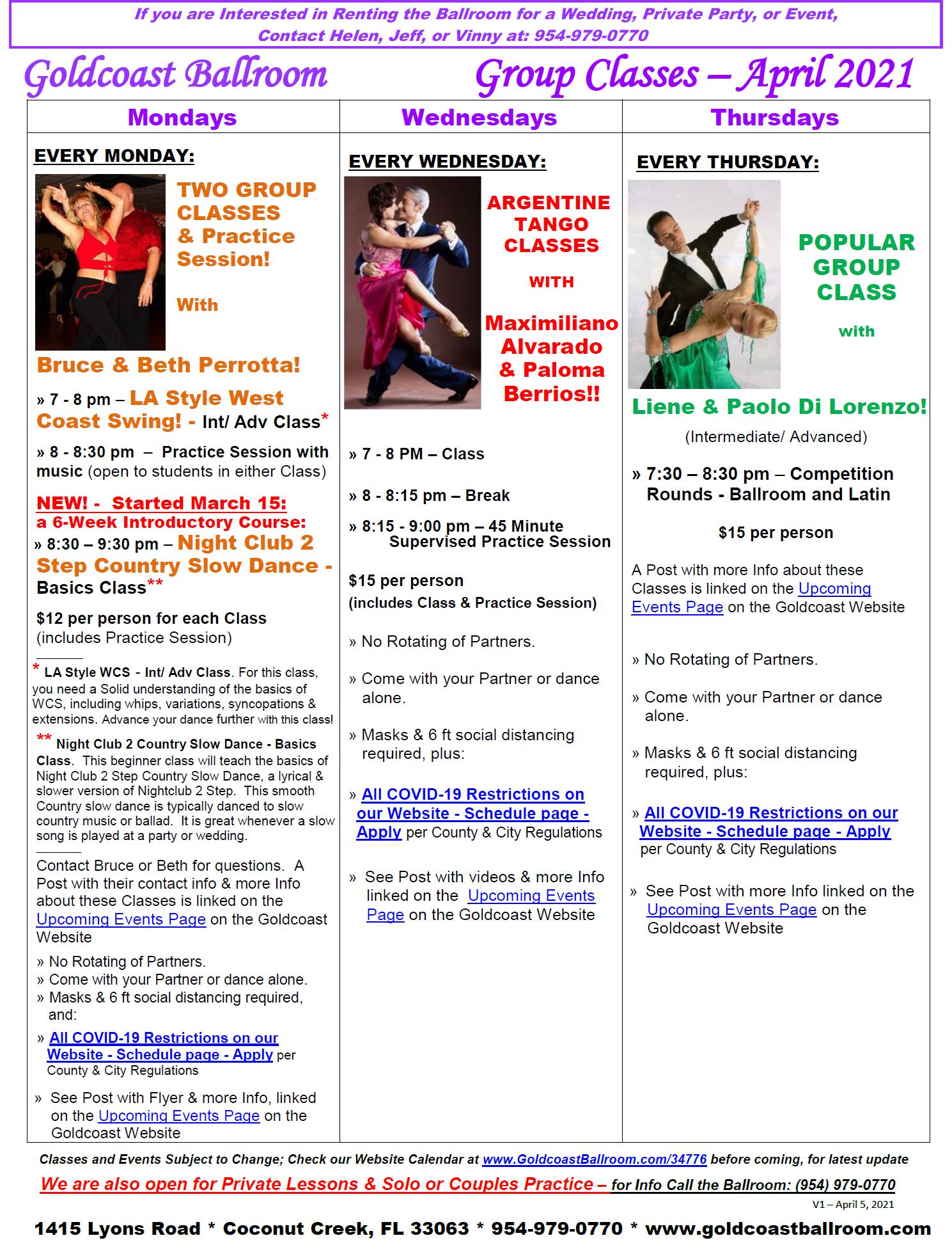 Goldcoast Ballroom - April 2021 Calendar - Group Class Schedule