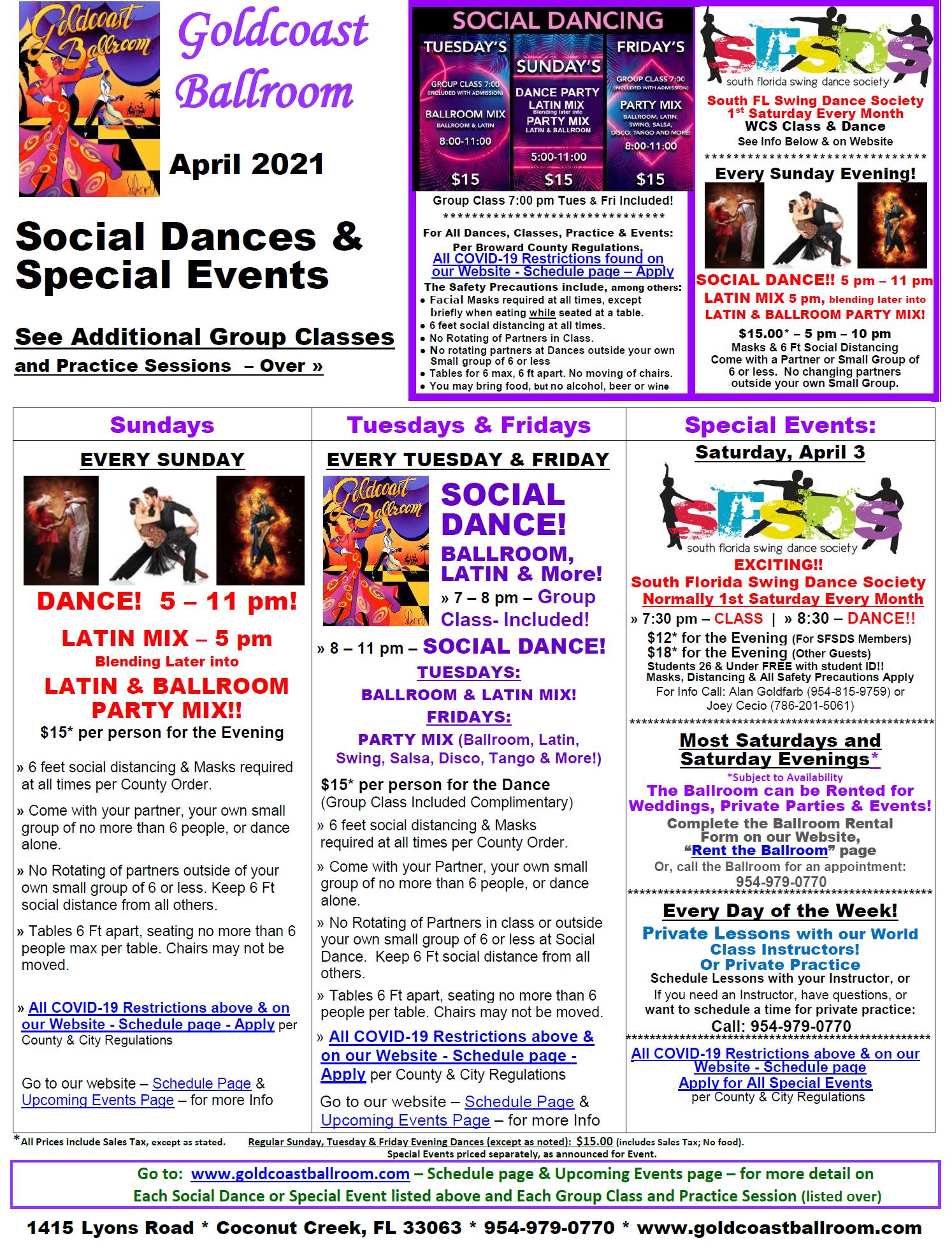 Goldcoast Ballroom - April 2021 Calendar - Social Dances & Special Events