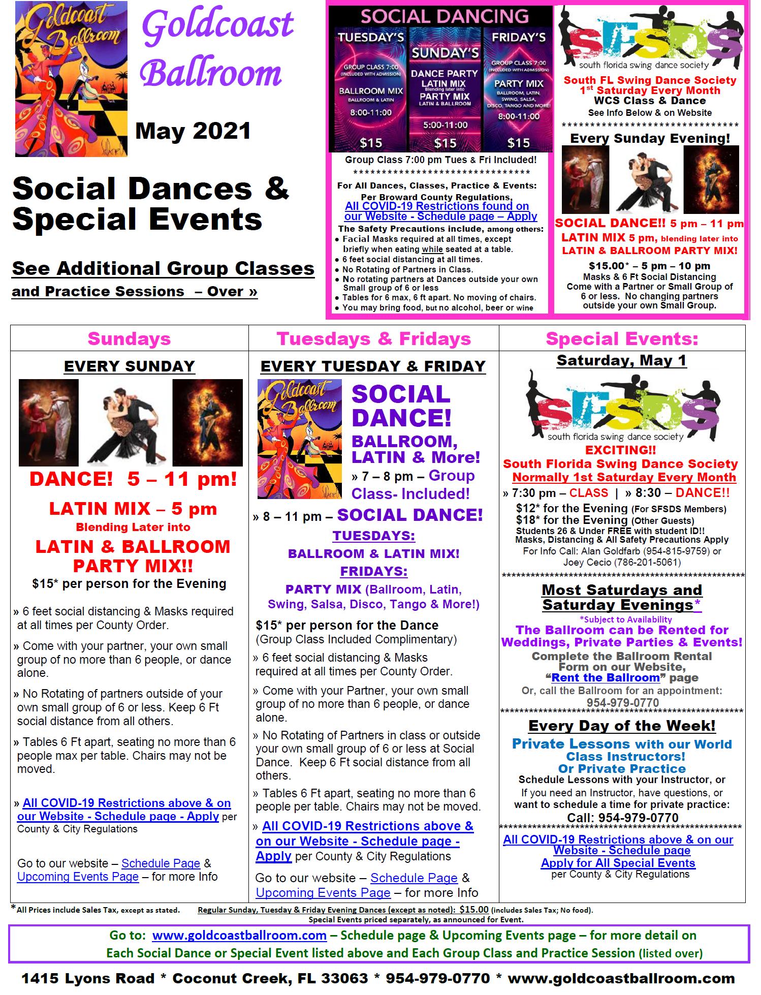 Goldcoast Ballroom May 2021 Calendar - Social Dances & Special Events