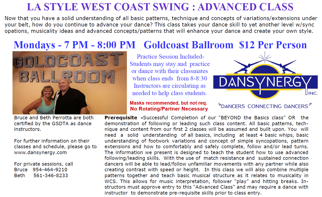 LA Style WCS - Advanced Class - with Bruce & Beth Perrotta - started August 2, 2021
