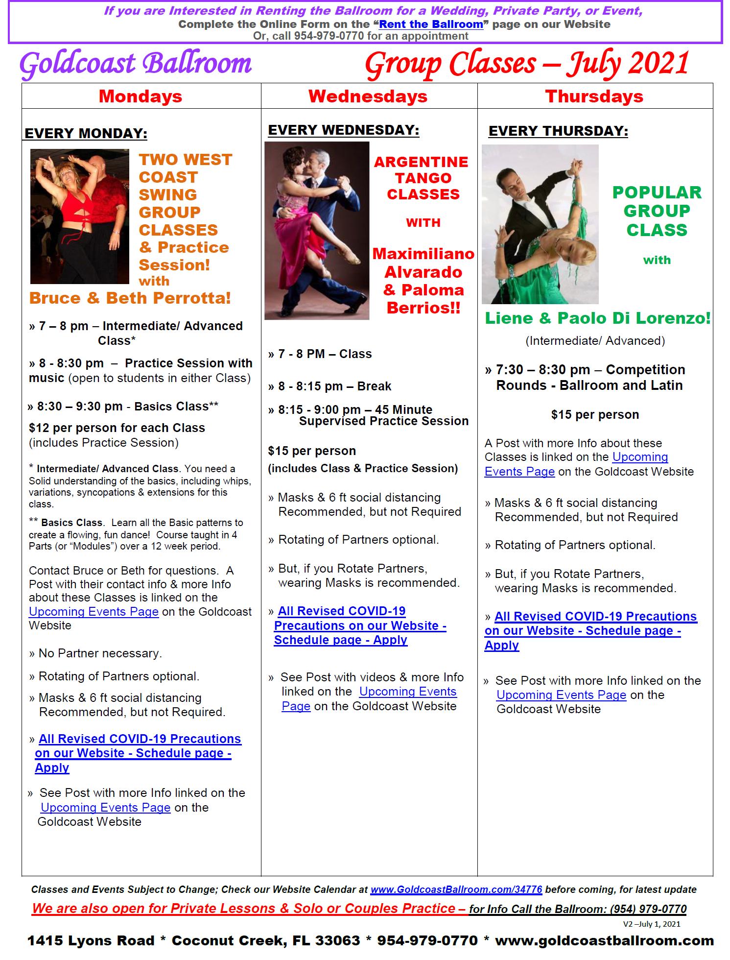 Goldcoast Ballroom July, 2021 Calendar - Group Class Schedule