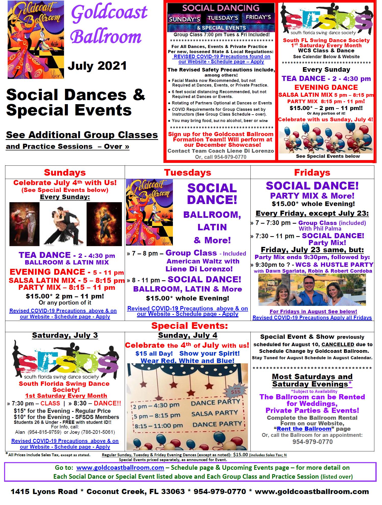 Goldcoast Ballroom July, 2021 Calendar - Social Dances & Special Events