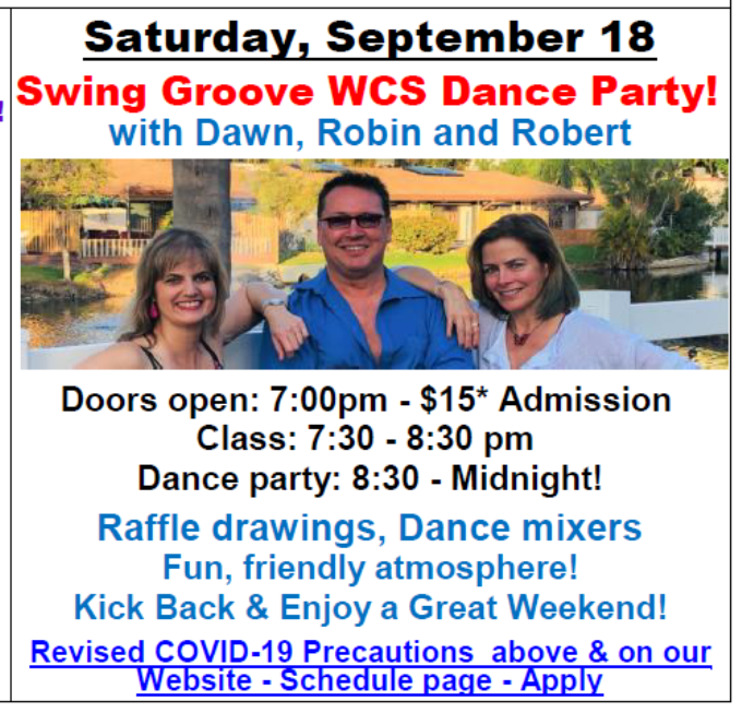 Saturday, September 18, 2021 - Swing Groove - WCS Dance Party! - with Dawn, Robin & Robert