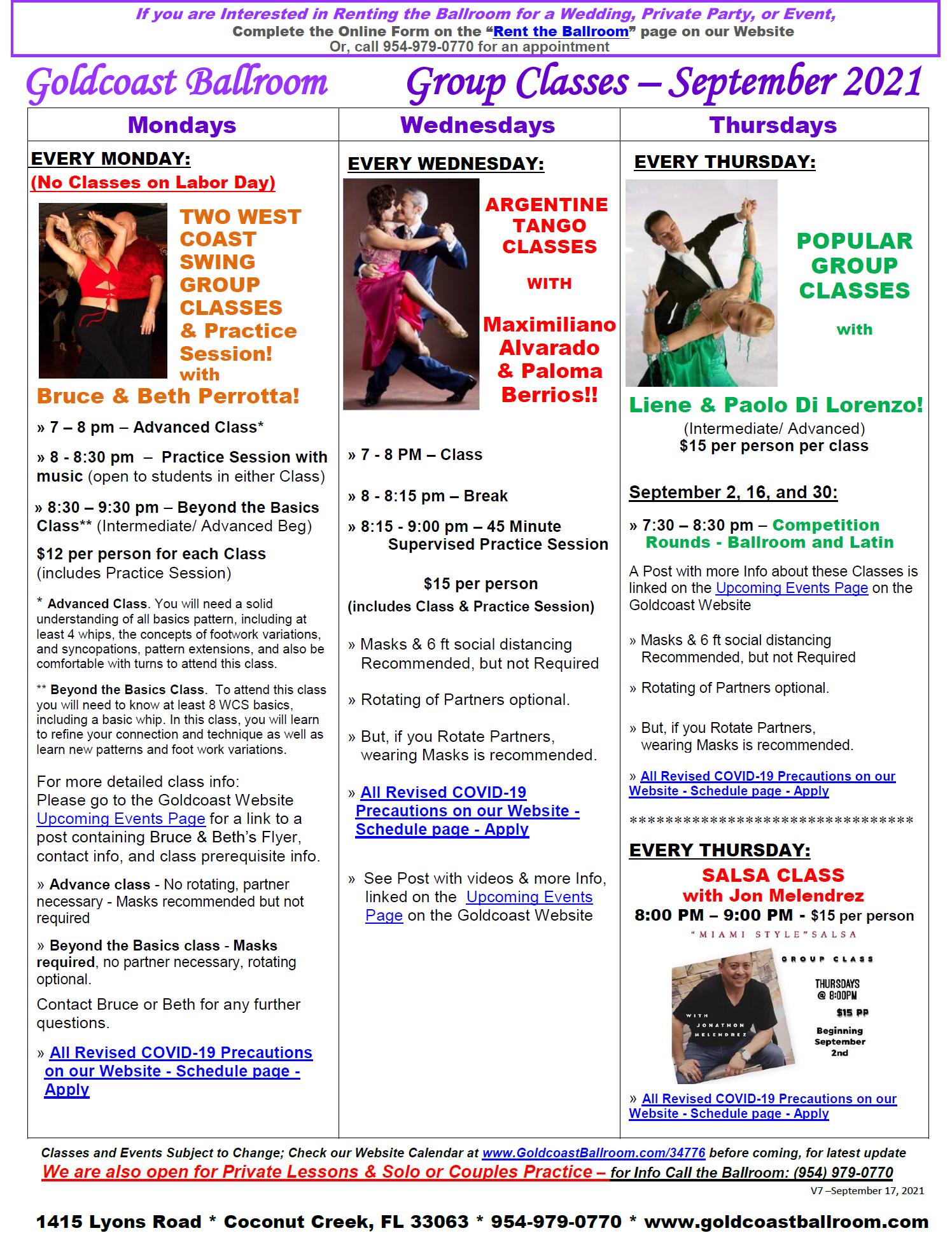 September, 2021 Calendar - Group Class Schedule