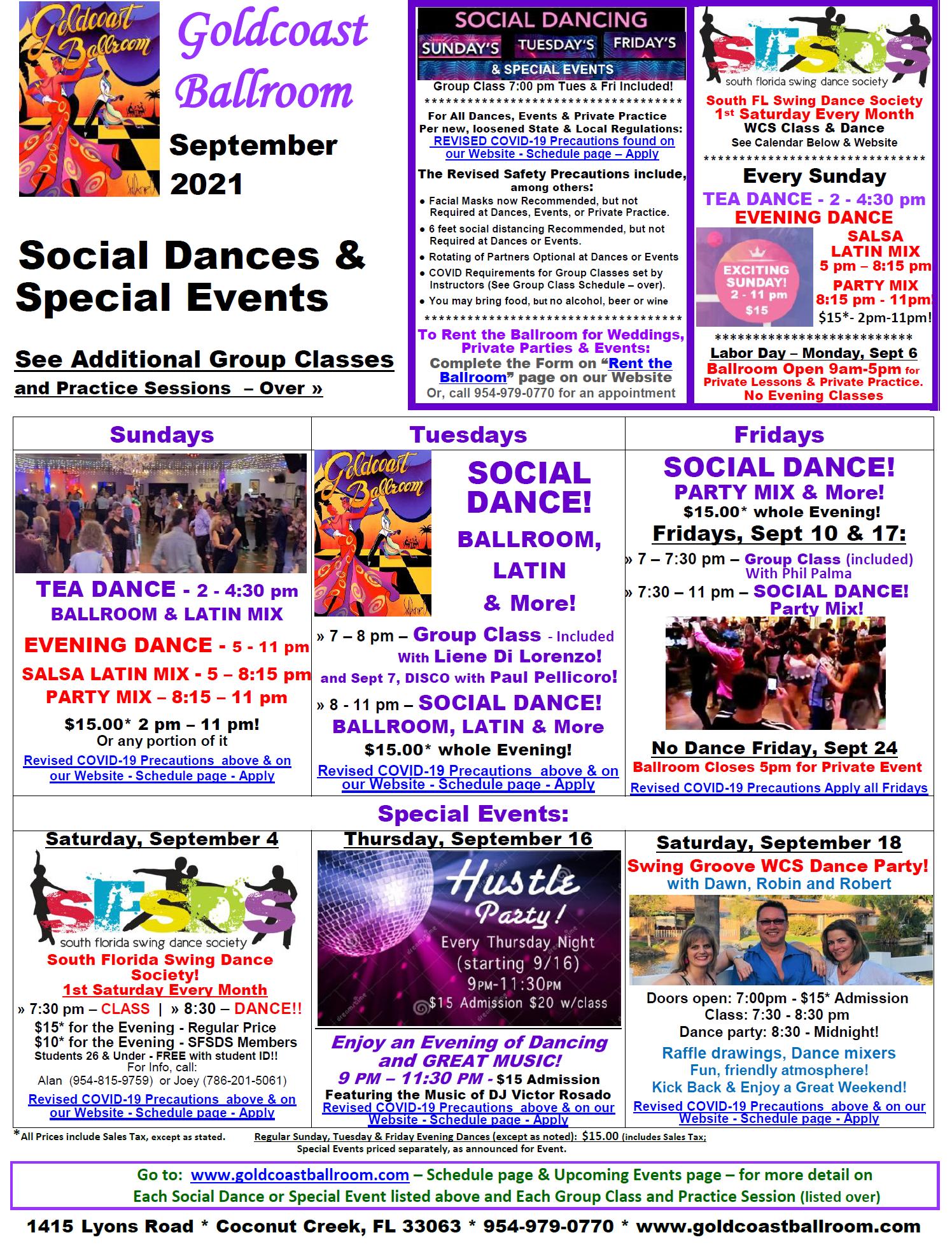 September, 2021 Calendar - Social Dances & Special Events