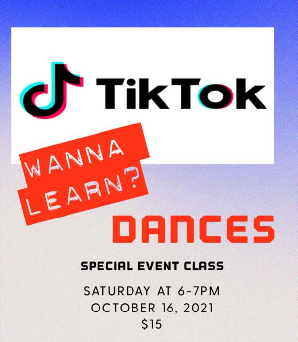 TIK TOK DANCES! – with Jon Melendrez – Saturday, October 16 – 6:00 PM – 7:00 PM – $15. – Improve your Salsa Shines!