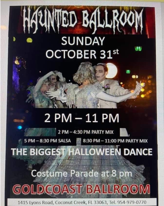 Halloween Dance! – Sunday, October 31 – 2 PM – 11 PM!! – Costume Parade at 8 PM – $15.00 (2 pm – 11 pm, or any portion of it)