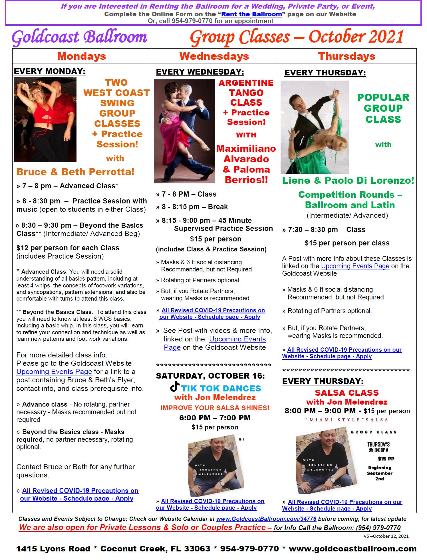 Goldcoast Ballroom October, 2021 Calendar - Group Class Schedule - V5