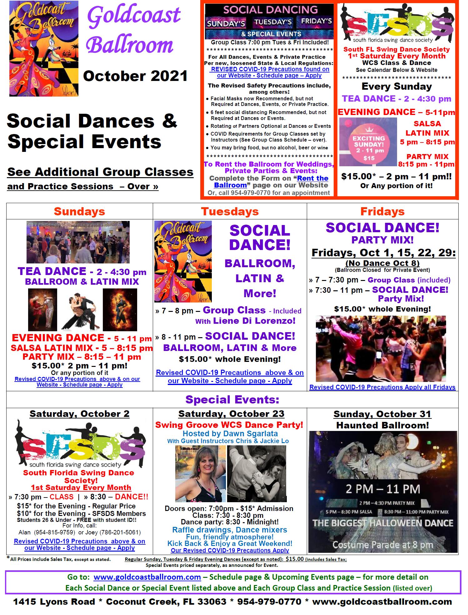 Goldcoast Ballroom October, 2021 Calendar - Social Dances & Special Events - V5